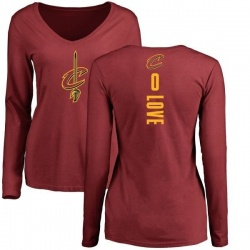 Women's Kevin Love Cleveland Cavaliers Maroon Backer Long Sleeve T-Shirt
