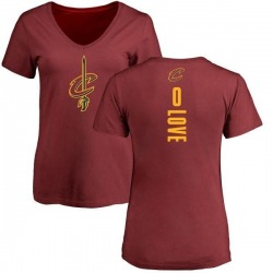 Women's Kevin Love Cleveland Cavaliers Maroon Backer T-Shirt
