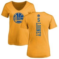 Women's Kevon Looney Golden State Warriors Gold One Color Backer Slim-Fit V-Neck T-Shirt