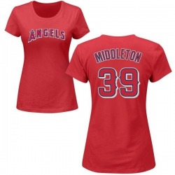 Women's Keynan Middleton Los Angeles Angels Roster Name & Number T-Shirt - Red