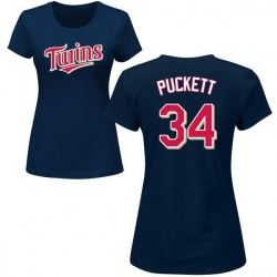 Women's Kirby Puckett Minnesota Twins Roster Name & Number T-Shirt - Navy
