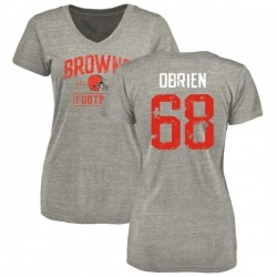 Women's Kitt Obrien Cleveland Browns Heather Gray Distressed Name & Number Tri-Blend V-Neck T-Shirt
