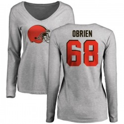 Women's Kitt Obrien Cleveland Browns Name & Number Logo Slim Fit Long Sleeve T-Shirt - Ash