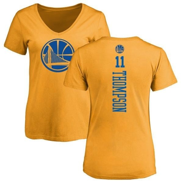 timeless design 7e785 47cc9 Women's Klay Thompson Golden State Warriors Gold One Color Backer Slim-Fit  V-Neck T-Shirt - Teams Tee