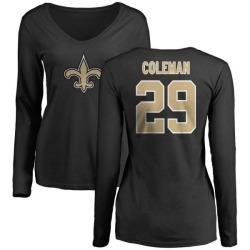 Women's Kurt Coleman New Orleans Saints Name & Number Logo Slim Fit Long Sleeve T-Shirt - Black