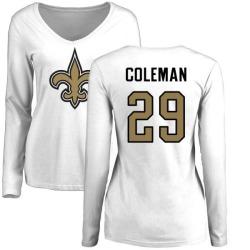 Women's Kurt Coleman New Orleans Saints Name & Number Logo Slim Fit Long Sleeve T-Shirt - White