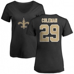 Women's Kurt Coleman New Orleans Saints Name & Number Logo Slim Fit T-Shirt - Black
