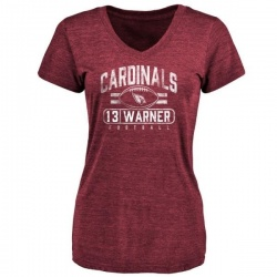 Women's Kurt Warner Arizona Cardinals Flanker Tri-Blend T-Shirt - Maroon