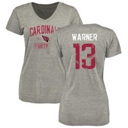 Women's Kurt Warner Arizona Cardinals Heather Gray Distressed Name & Number Tri-Blend V-Neck T-Shirt