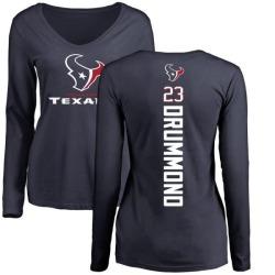 Women's Kurtis Drummond Houston Texans Backer Slim Fit Long Sleeve T-Shirt - Navy