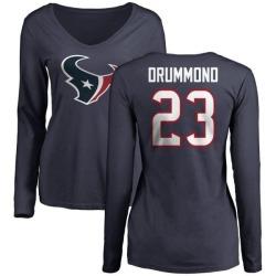Women's Kurtis Drummond Houston Texans Name & Number Logo Slim Fit Long Sleeve T-Shirt - Navy