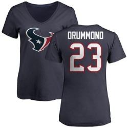 Women's Kurtis Drummond Houston Texans Name & Number Logo Slim Fit T-Shirt - Navy