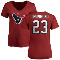 Women's Kurtis Drummond Houston Texans Name & Number Logo Slim Fit T-Shirt - Red