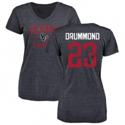 Women's Kurtis Drummond Houston Texans Navy Distressed Name & Number Tri-Blend V-Neck T-Shirt