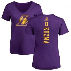 Women's Kyle Kuzma Los Angeles Lakers Purple One Color Backer Slim-Fit V-Neck T-Shirt