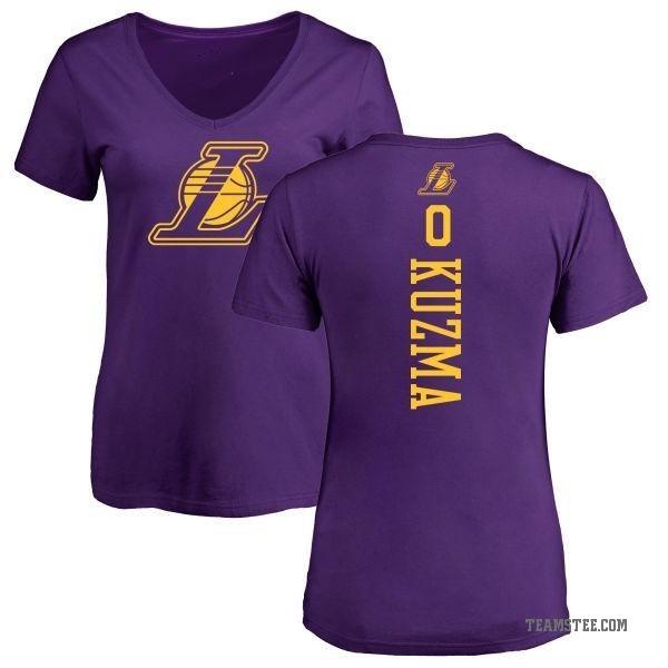 quality design fc9d4 2aac9 Women's Kyle Kuzma Los Angeles Lakers Purple One Color Backer Slim-Fit  V-Neck T-Shirt - Teams Tee