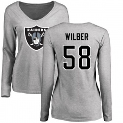 Women's Kyle Wilber Oakland Raiders Name & Number Logo Slim Fit Long Sleeve T-Shirt - Ash