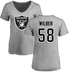 Women's Kyle Wilber Oakland Raiders Name & Number Logo Slim Fit T-Shirt - Ash