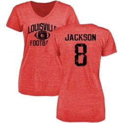 Women's Lamar Jackson Louisville Cardinals Distressed Football Tri-Blend V-Neck T-Shirt - Red