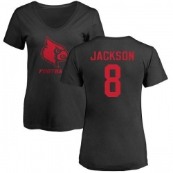 Women's Lamar Jackson Louisville Cardinals One Color T-Shirt - Black