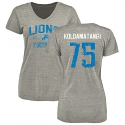 Women's Leo Koloamatangi Detroit Lions Heather Gray Distressed Name & Number Tri-Blend V-Neck T-Shirt