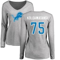 Women's Leo Koloamatangi Detroit Lions Name & Number Logo Slim Fit Long Sleeve T-Shirt - Ash