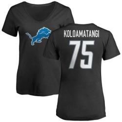 Women's Leo Koloamatangi Detroit Lions Name & Number Logo Slim Fit T-Shirt - Black