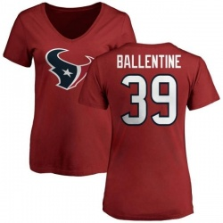 Women's Lonnie Ballentine Houston Texans Name & Number Logo Slim Fit T-Shirt - Red
