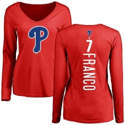 Women's Maikel Franco Philadelphia Phillies Backer Slim Fit Long Sleeve T-Shirt - Red