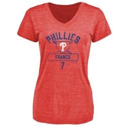 Women's Maikel Franco Philadelphia Phillies Base Runner Tri-Blend T-Shirt - Red