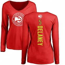 Women's Malcolm Delaney Atlanta Hawks Red Backer Long Sleeve T-Shirt