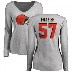 Women's Marcell Frazier Cleveland Browns Name & Number Logo Slim Fit Long Sleeve T-Shirt - Ash