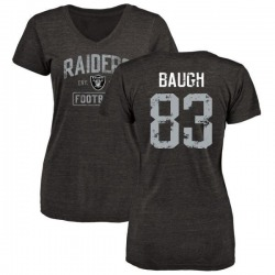 Women's Marcus Baugh Oakland Raiders Black Distressed Name & Number Tri-Blend V-Neck T-Shirt