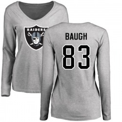 Women's Marcus Baugh Oakland Raiders Name & Number Logo Slim Fit Long Sleeve T-Shirt - Ash