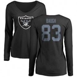 Women's Marcus Baugh Oakland Raiders Name & Number Logo Slim Fit Long Sleeve T-Shirt - Black