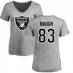 Women's Marcus Baugh Oakland Raiders Name & Number Logo Slim Fit T-Shirt - Ash