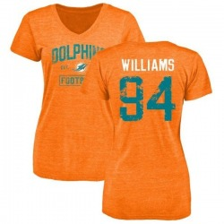 Women's Mario Williams Miami Dolphins Orange Distressed Name & Number Tri-Blend V-Neck T-Shirt