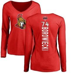 Women's Mark Borowiecki Ottawa Senators Backer Long Sleeve T-Shirt - Red