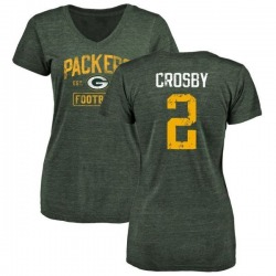 Women's Mason Crosby Green Bay Packers Green Distressed Name & Number Tri-Blend V-Neck T-Shirt