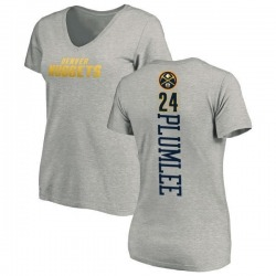 Women's Mason Plumlee Denver Nuggets Ash Backer T-Shirt
