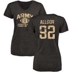 Women's Matt Allgor Army Black Knights Distressed Football Tri-Blend V-Neck T-Shirt - Black