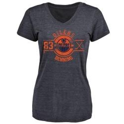 Women's Matt Benning Edmonton Oilers Insignia Tri-Blend T-Shirt - Royal