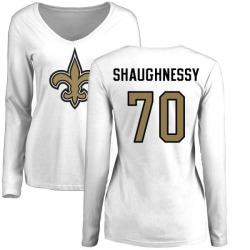 Women's Matt Shaughnessy New Orleans Saints Name & Number Logo Slim Fit Long Sleeve T-Shirt - White