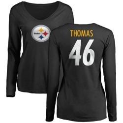 Women's Matthew Thomas Pittsburgh Steelers Name & Number Logo Slim Fit Long Sleeve T-Shirt - Black