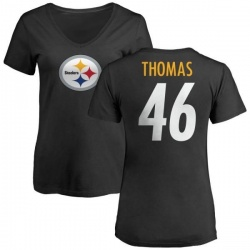 Women's Matthew Thomas Pittsburgh Steelers Name & Number Logo Slim Fit T-Shirt - Black