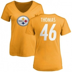 Women's Matthew Thomas Pittsburgh Steelers Name & Number Logo Slim Fit T-Shirt - Gold
