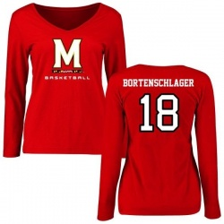 Women's Max Bortenschlager Maryland Terrapins Basketball Slim Fit Long Sleeve T-Shirt - Red