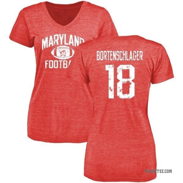 Women's Max Bortenschlager Maryland Terrapins Distressed Football Tri-Blend V-Neck T-Shirt - Red