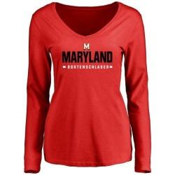 Women's Max Bortenschlager Maryland Terrapins Sport Wordmark Long Sleeve T-Shirt - Red