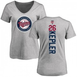 Women's Max Kepler Minnesota Twins Backer Slim Fit T-Shirt - Ash